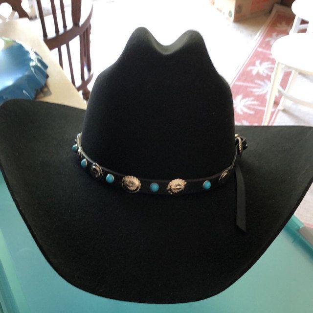 Black Hatband 1 2 Genuine Leather W Turquoisesilver Etsy Western Cowboy Hats Hat Band Cowboy Hats