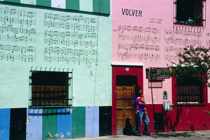 Argentina - Songs of tango legend Carlos Gardel on walls of building in Buenos Aires' Abasto neighbourhood