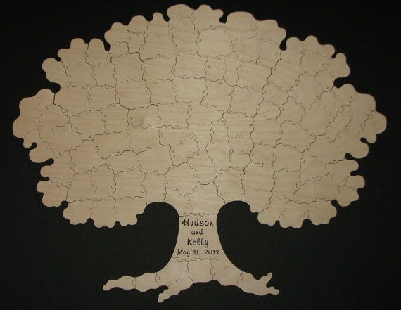 115 pc Puzzle Guest Book TREE  Hand Cut Wooden by KeystonePuzzles, $440.00