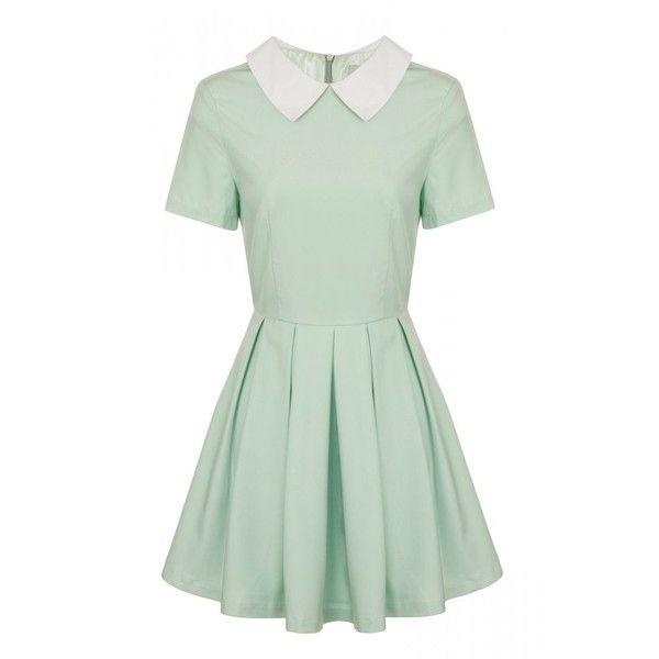 Lavish Alice Mint Contrast Collar Box Pleat Skater Dress found on Polyvore featuring dresses, vestidos, box pleat dress, skater dress, pastel green dress, green dress and pastel dresses