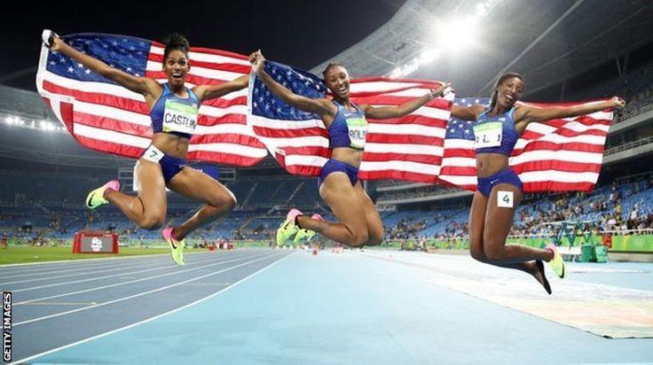 Kristi Castlin, Brianna Rollins and Nia Ali celebrate a USA one-two-three