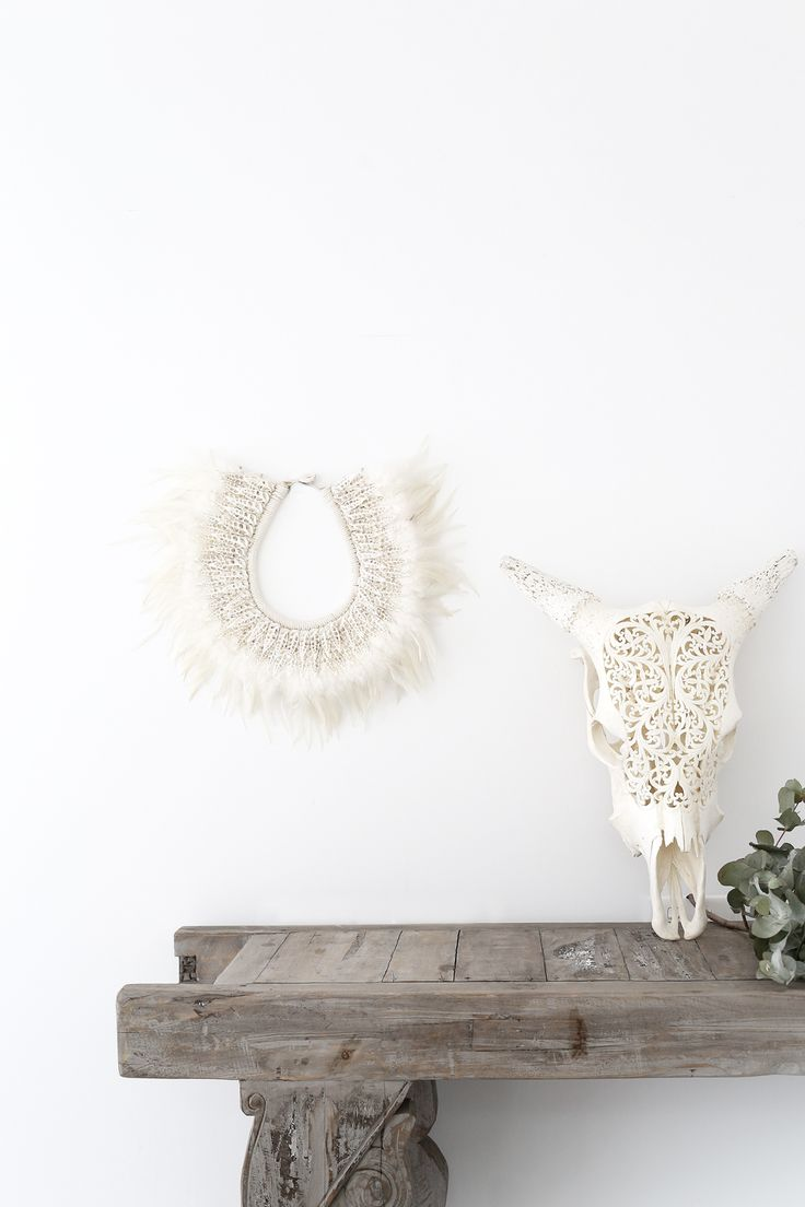 Losari Home & Woman - Lace Horn && Hope Feather & Shell Tribal Necklace