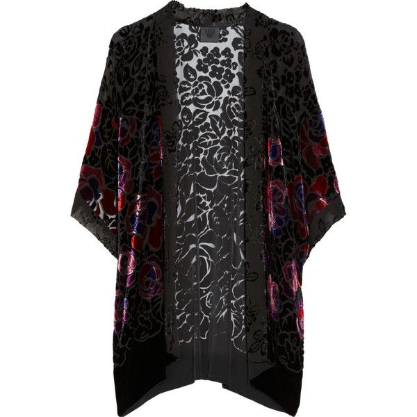 Anna Sui Rose-patterned burnout velvet kimono-style jacket (£168) ❤ liked on Polyvore featuring outerwear, jackets, cardigans, kimono, tops, black, evening, anna sui, black velvet kimono and velvet kimono