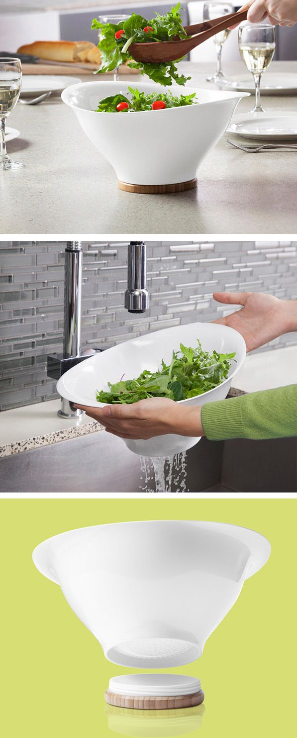 Serving bowl + strainer in one