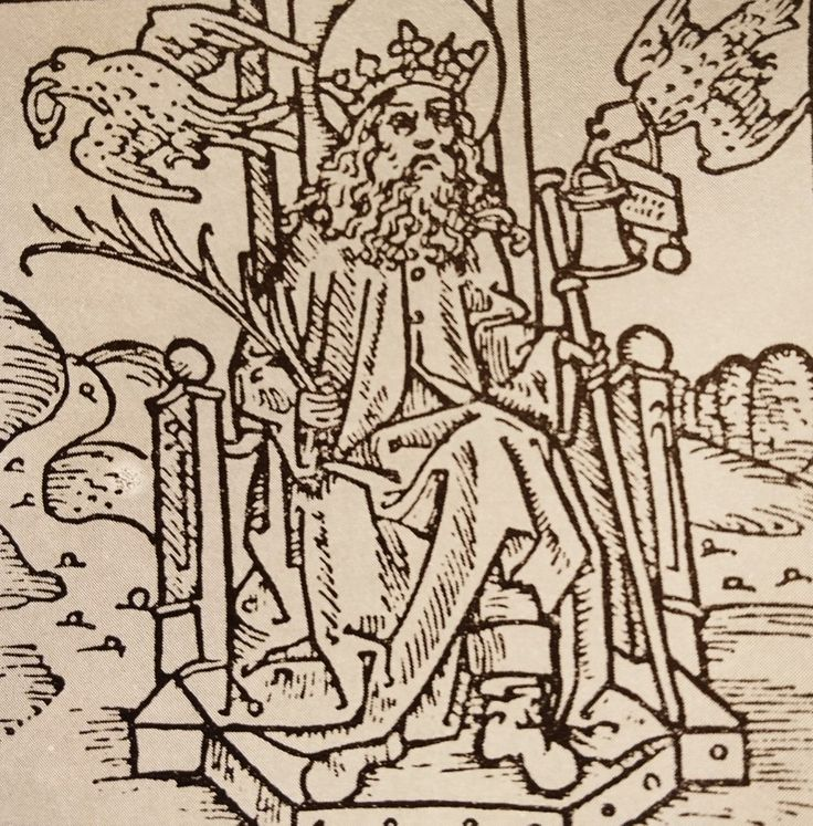 Angelsaksische koning Oswald (7de eeuw), voorgesteld met Odins ravenpaar. Duitse houtsnede uit 1488.