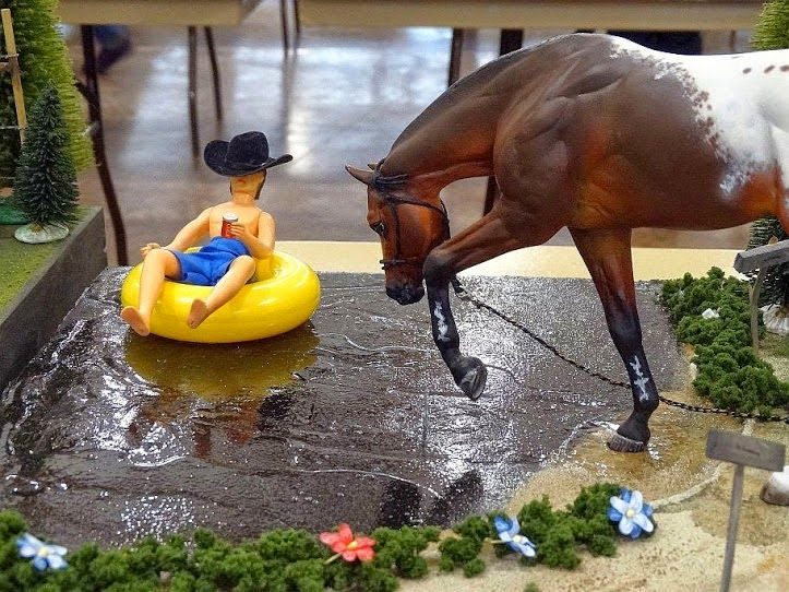 Perfect use for a horse in an awkward (but realistic) pose. - Model Horse Photography
