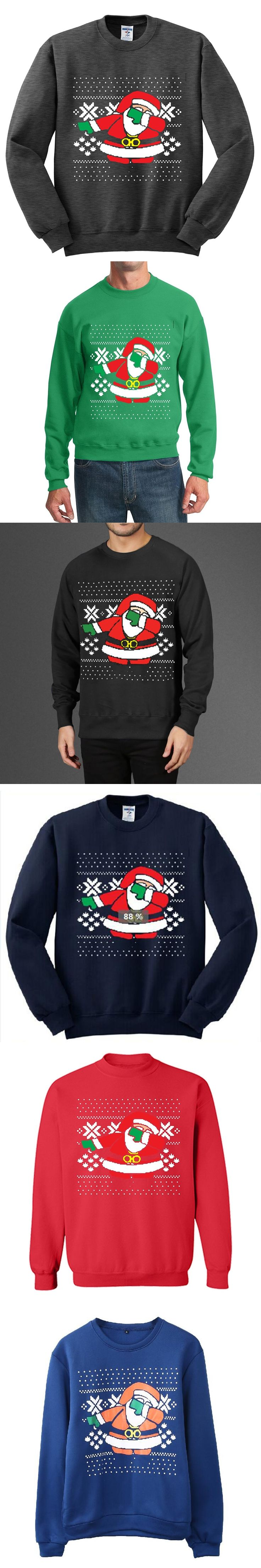 2017Christmas Patton Sweater Santa Claus Casual Print Pullover Sweater Jumper Outwear Man Patterns of Reindeer Snowman Christmas