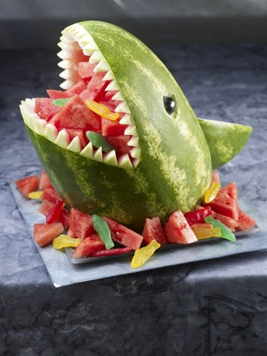 Watermelon shark complete with helpless Swedish fish. - Click image to find more Food & Drink Pinterest pins