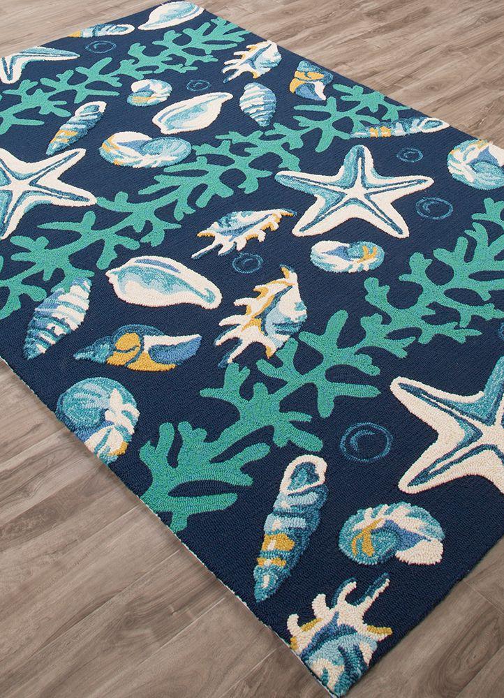 Coastal Lagoon Blue Surf Area Rug Surf Coral Pattern
