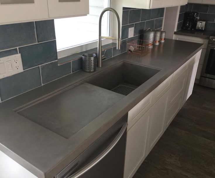 Concrete Countertop With Integrated Sink And Drainboard