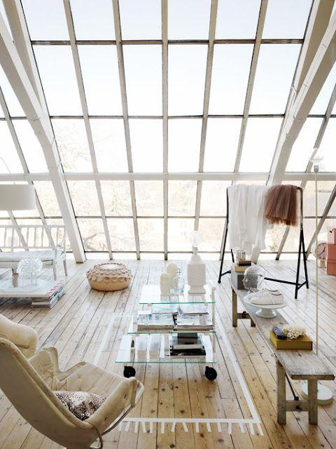 my scandinavian home: Beautiful, light, loft space livingLights, Open Spaces, Dreams, Big Windows, Interiors Design, Living Room, Loft Spaces, House, Rugs