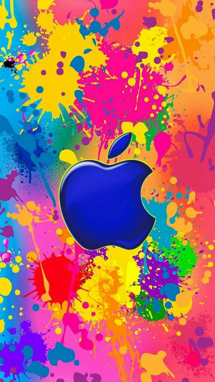 Paint Splatter With Blue Apple Apple Wallpaper Apple Iphone