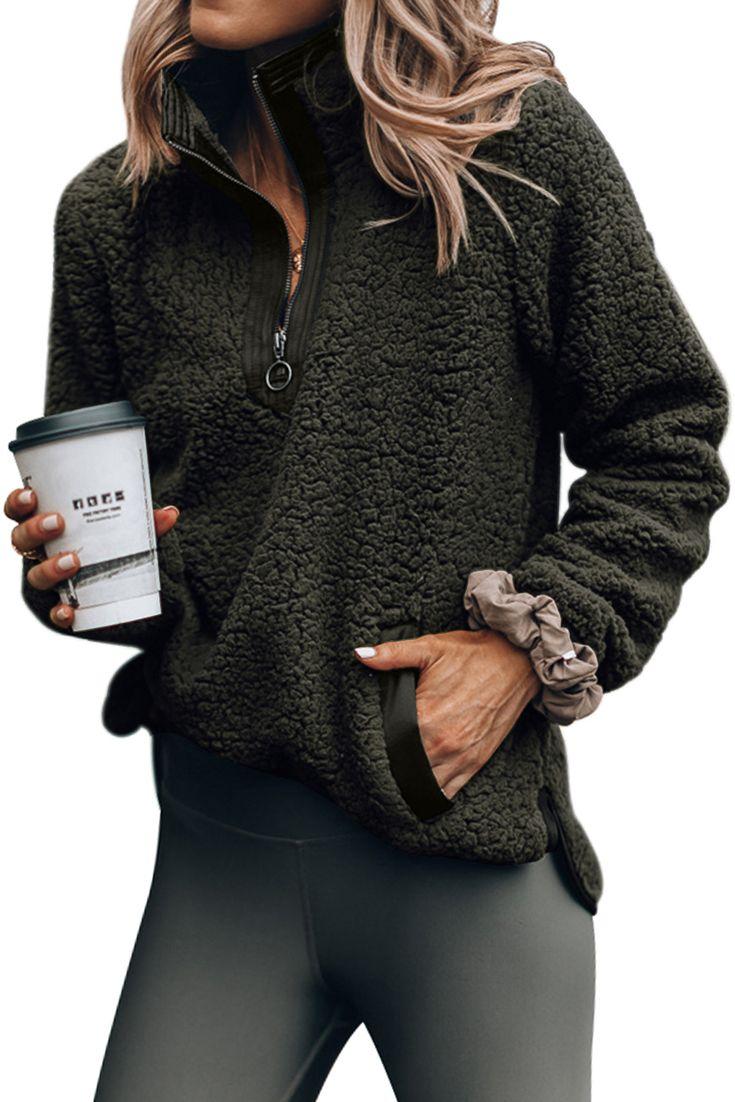 Trendy Dark Olive Zip Neck Furry Sweatshirt