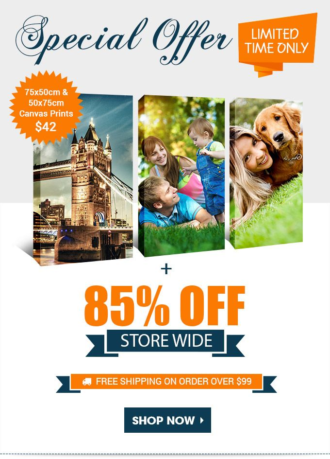 SPECIAL OFFER: LIMITED TIME ONLY - Get 75x50cm & 50x75cm Canvas Prints $42 + 85% OFF Store Wide