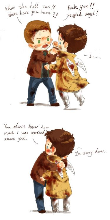 Dean and Castiel's relationship summed up in a single picture.