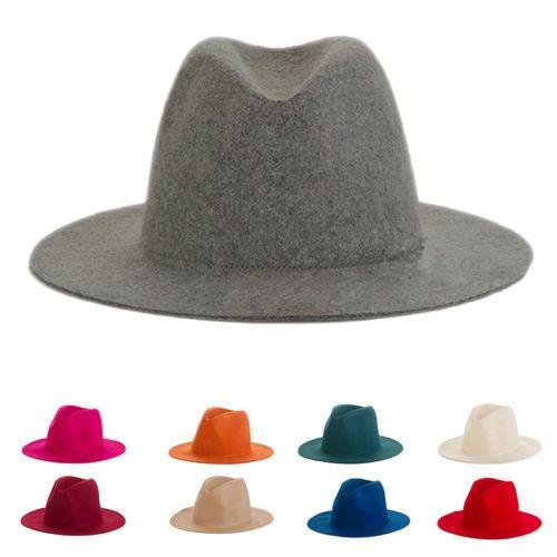 Women's Fashion 100% WOOl Felt Wide Brim Fedora Hat Trilby Jazz Hats Panama sun Cap Size 56-58CM  7 Colors In stock