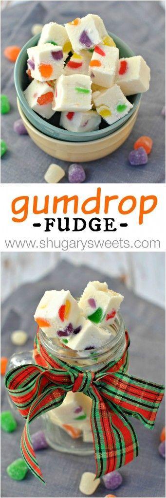 Gumdrop Fudge recipe- soft vanilla fudge filled with colorful chewy, fruity gumdrops