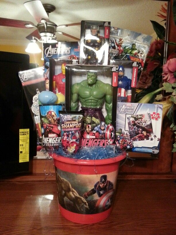 219 best easter baskets images on pinterest barbie doll basket avengers theme basket negle Choice Image