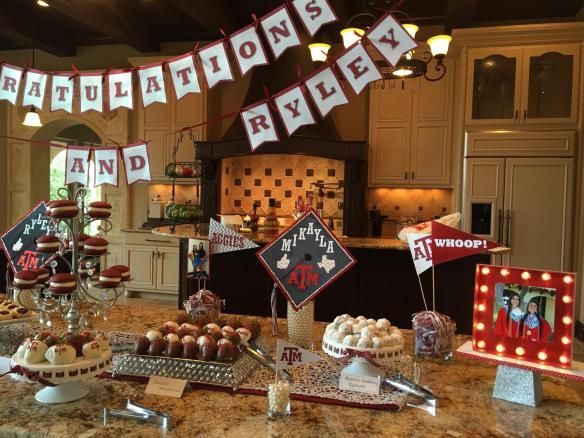 Graduation party décor dessert table Texas A&M www.inspiredoccasionssa.com