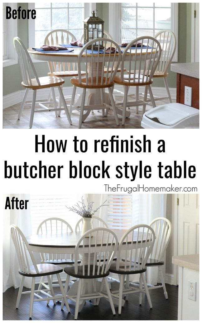 How To Refinish A Butcher Block Style Table Diy Kitchen Table Butcher Block Tables Refinishing Kitchen Tables