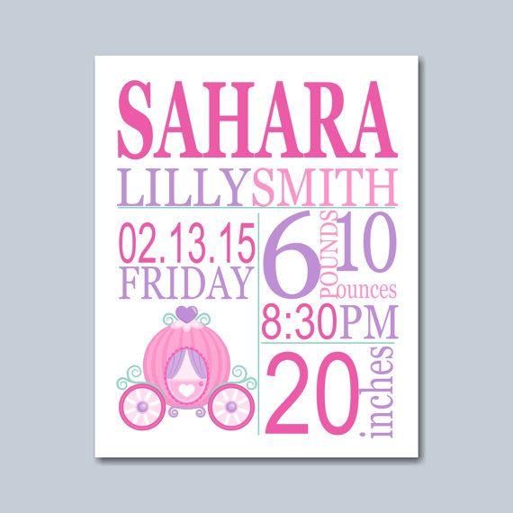 Princess Birth Print Princess  Birth Stats by SweetBloomsDecor