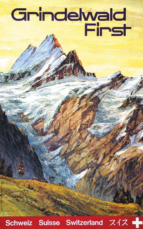 Vintage Travel Poster - Grindelwald - Switzerland.