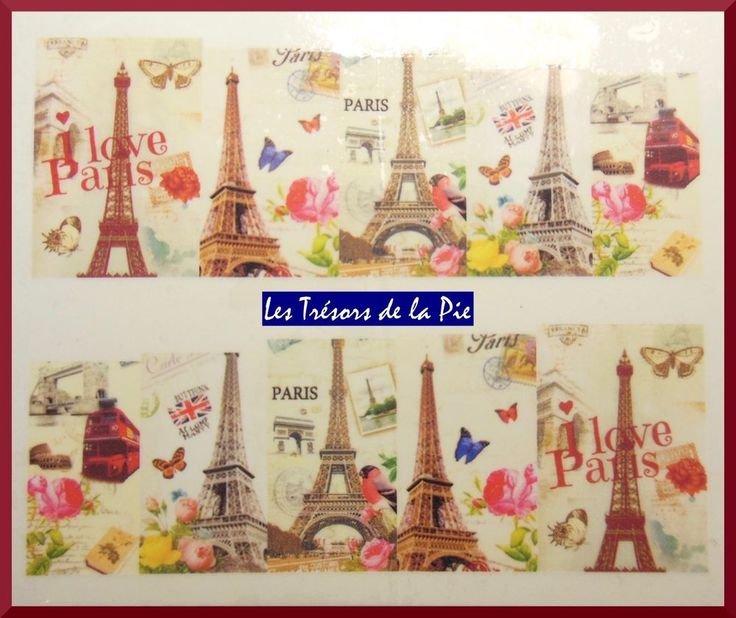 STICKERS ONGLES WATER DECAL (x10) - Nail art - Paris & tour Eiffel - Multicolore