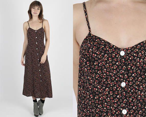 Grunge vestido Maxi vestido de los años 90 vestido vestido de fiesta vestido Boho vestido negro Vintage vestido Floral muñeca bohemio vestido de Maxi sol M