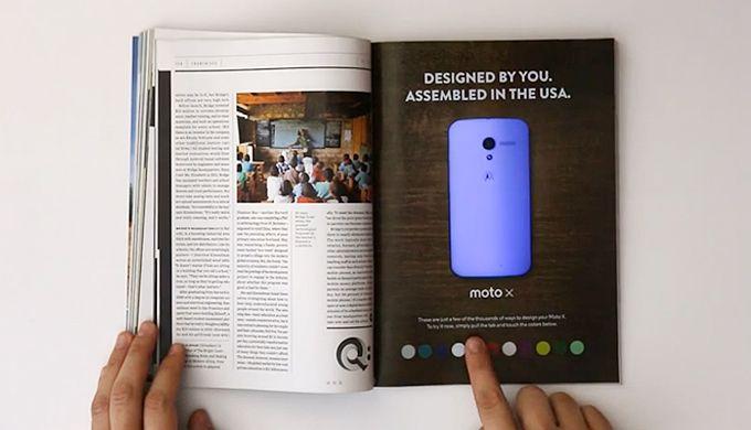Interaktive #Print-Anzeige für das #Motorola #Moto X | http://www.markenfaktor.de/2013/12/20/interaktive-print-anzeige-fur-das-motorola-moto-x/