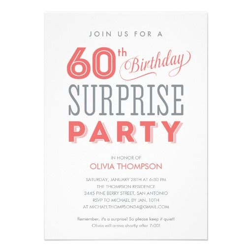Best 20+ Surprise birthday invitations ideas on Pinterest | 70th ...