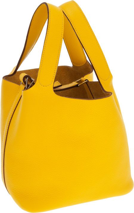 Hermes Jaune Clemence Leather Picotin PM Tote Bag