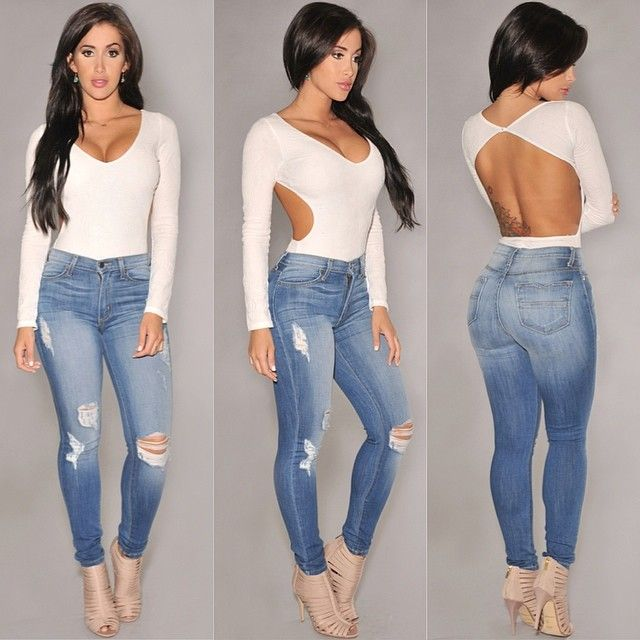 #ShareIG Sleek nu0026#39; chic. Get the look at HotMiamiStyles.com Bodysuit 324 - Jeans 1433 - Shoes ...