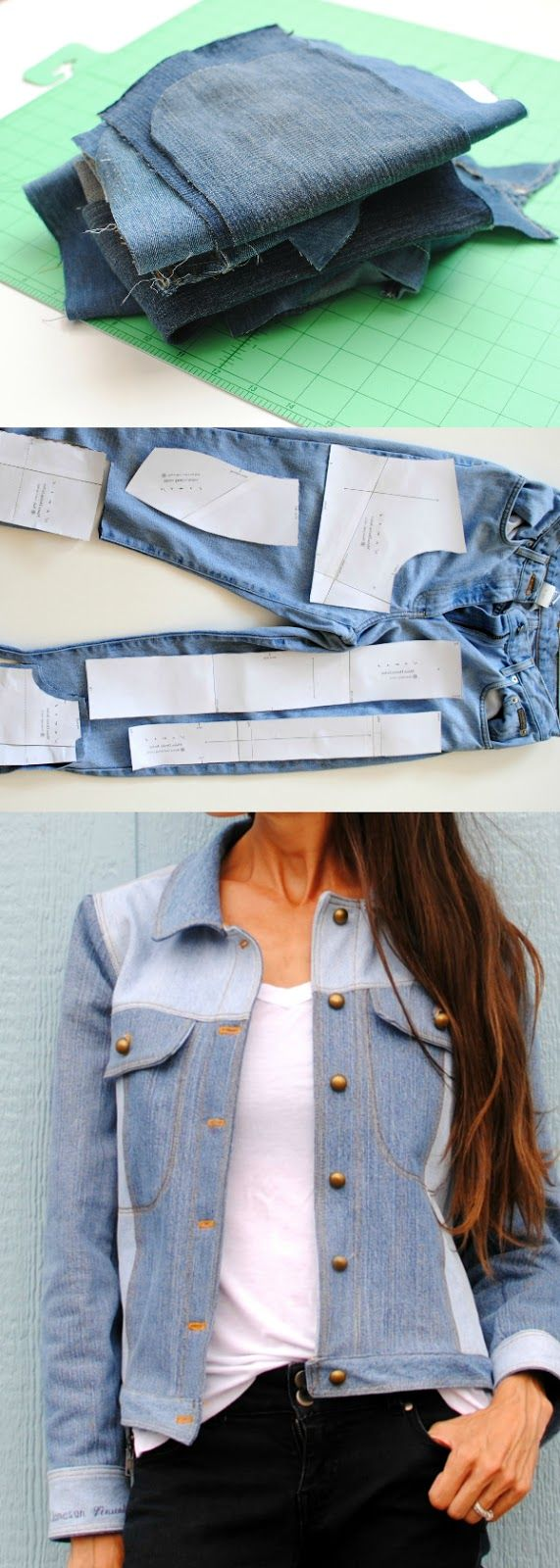 Upcycled Denim Jacket from her kid's old jeans!