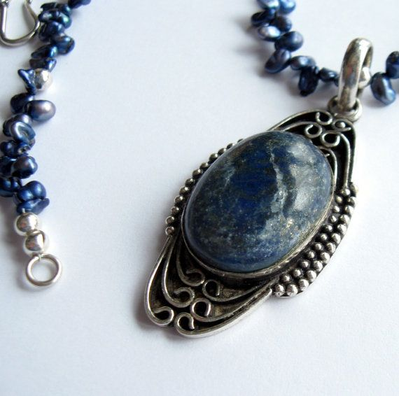 Lapis Jewelry  Blue Keshi Flake and Lapis by TheBrassHussy on Etsy, $61.00: Blue Pearl