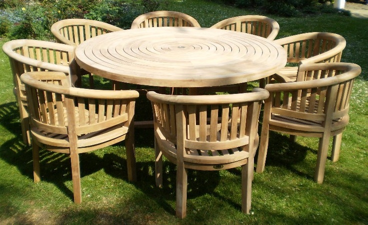 Chairs and Tables - Garden Furniture - Turnworth 180cm Round Ring Table Set with Banana Arm Chairs, £2,199.99 (http://www.chairsandtables.co.uk/turnworth-round-ring-table-set-with-banana-arm-chairs/)