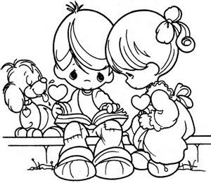 precious moments coloring page young boy and girl sitting on bench reading a book with puppy nearby