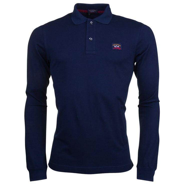 Paul & Shark Mens Blue Shark Fit L/s Polo Shirt