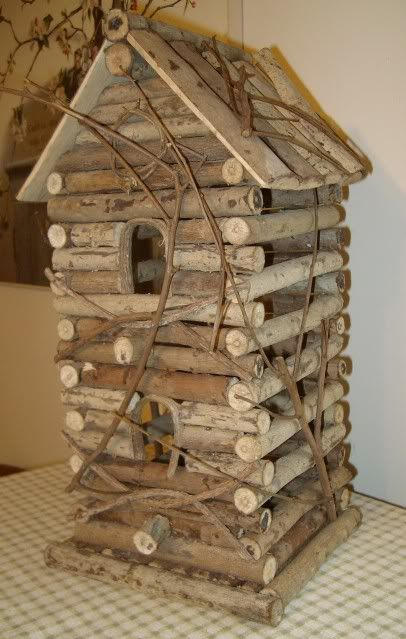 Primitive Country Crafts | Primitive Country Rustic Reclaimed Log Cabin Bird House Natural Twig ...