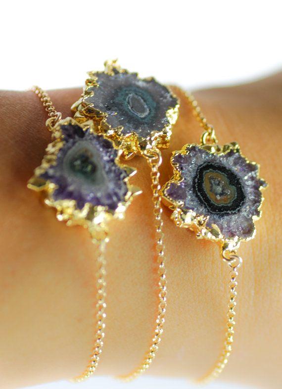 Nalani bracelet gold druzy bracelet gold by kealohajewelry
