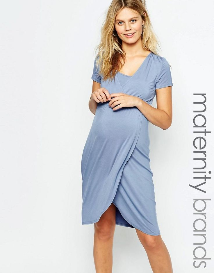 Mama.licious | Mamalicious Short Sleeved Wrap Front Nursing Dress at ASOS
