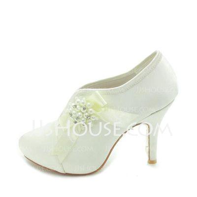 Wedding Shoes - $59.99 - Women's Satin Cone Heel Boots Closed Toe Platform Pumps With Beading Bowknot Imitation Pearl (047018124) http://jjshouse.com/Women-S-Satin-Cone-Heel-Boots-Closed-Toe-Platform-Pumps-With-Beading-Bowknot-Imitation-Pearl-047018124-g18124
