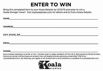 Image Result For Sweepstakes Entry Form Template