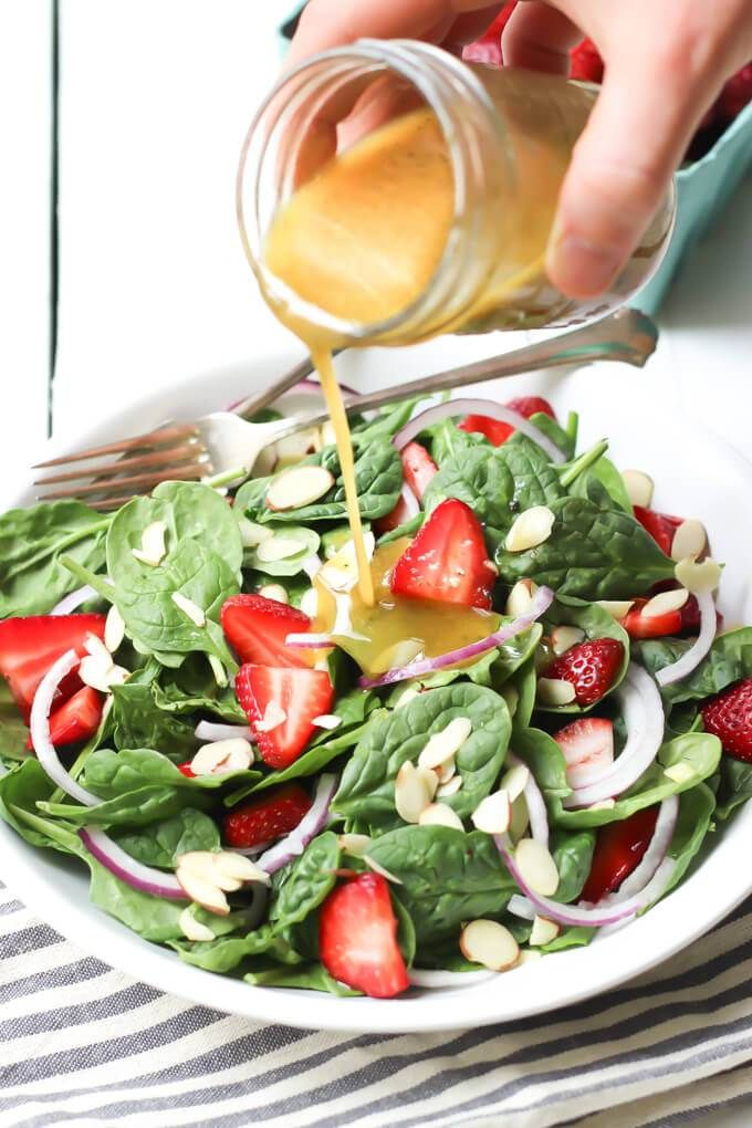 Strawberry Almond Spinach Salad with Tangy Poppy Seed Dressing