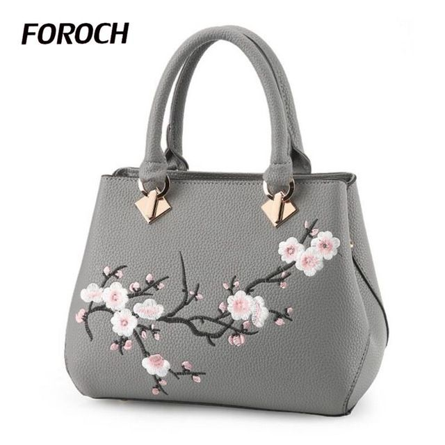 We love it and we know you also love it as well FOROCH Women Bag Zipper Embroidery Handbag Fashion Flower Ladies Evening Tote Bag Top-handle Bags Female Messenger Bags Sac 350 just only $18.99 with free shipping worldwide  #womantophandlebags Plese click on picture to see our special price for you