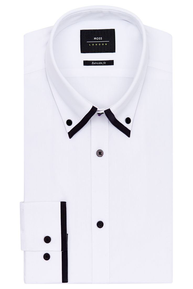 Moss London Extra Slim Fit Black and White Single Cuff Double Collar Shirt