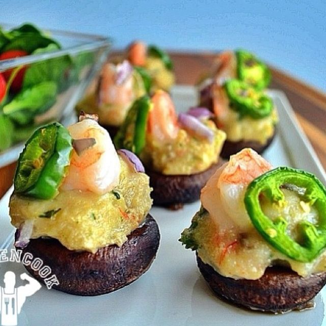 Spicy stuffed mushrooms with shrimp and spinach | Food ...