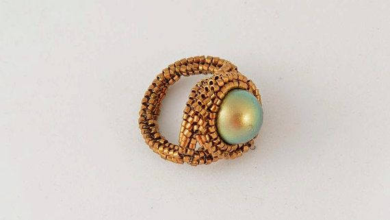 Beadwoven statement ring with big Swarovski 3 color by Renarta