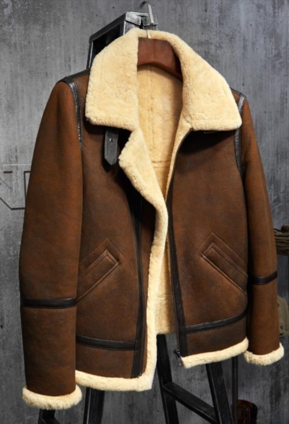 d3e6f15dc2e Men s Shearling Leather Jacket Dark Brown B3 Jacket Original Flying Jacket  Men s Fur Coat Aviation Leathercraft