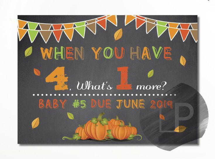 Anuncio embarazo, nuevo bebe, quinto hijo, anuncio embarazo otoño, little pumpkin, chalkboard, custom, decor, decorations, signs by LaminitasPrintables on Etsy