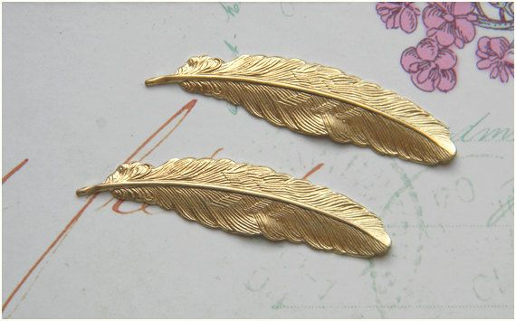 Raw Brass Feather Stamping 12mm x 53mm  4 by DecadentBrassGlass, $3.80